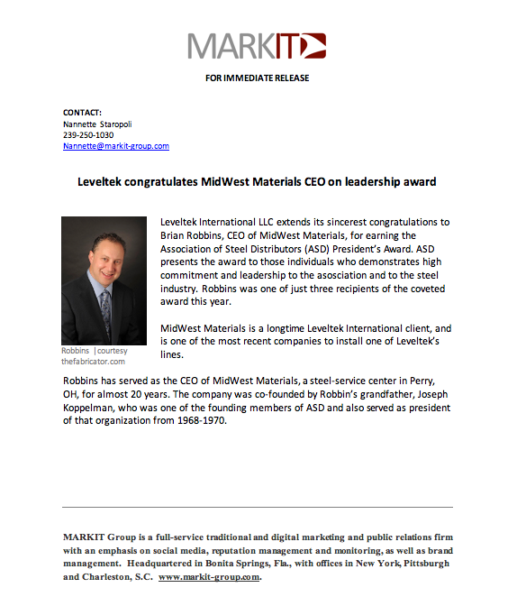 Congratulations to MidWest Materials on Leadership Award